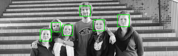 Results of the Viola-Jones face detection.
